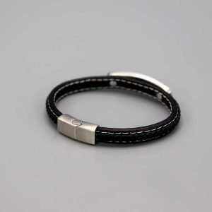 Aubry Cadoret Bracelet Homme Cuir Acier Plat Et Tresse