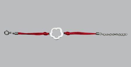 Bracelet Bebe Argent Massif Dc2735 Fleur Argent Cordon Rouge