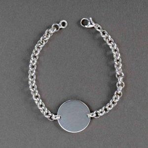 Bracelet Avec Plaque Identite Ronde Argent