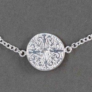 Bracelet Croix Baroque En Argent Massif