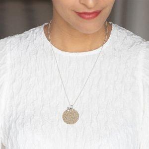 Aubry Cadoret Collier Medaille Papillon Argent Massif