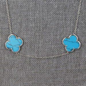Sautoir Argent Turquoise Aubry Cadoret 5 Fleurs 2
