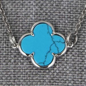 Colliers Argent Turquoise Aubry Cadoret Fleur