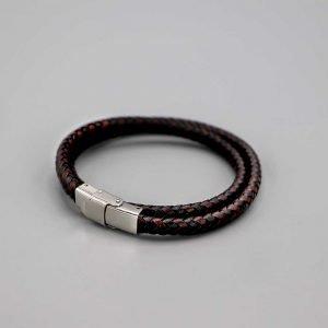 Aubry Cadoret Bracelet Homme Cuir Acier Brosse Double