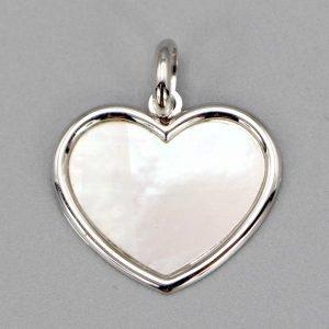 pendentif argenté coeur 18x15
